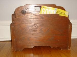 Wooden magazine rack. Homemade?